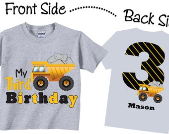 3rd Birthday Shirts with Dump Truck for Boys Tees