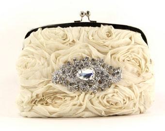 Purse, Beautiful Evening Clutch w/ stunning Swarovski Crystal Accent, Bridal Clutch, Evening Bag great for a wedding. Purse, Clutch, Bag