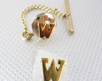Vintage Gold W Initial Tie Tack with Chain Signet letter personalized Business Wedding Birthday