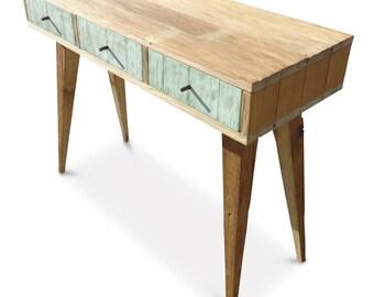 Flash Sale! Modern Mid Century Retro Danish Scandinavian Vintage Shabby Chic Eco Recycled Pastel Mint Green Console / Desk / Dressing Table