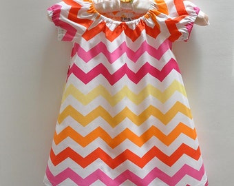 Toddler Dress Gathered Peasant Dress Easter Dress in Chevron Zig Zag