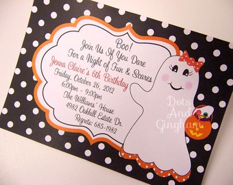 Kids Halloween Invitation-Printable Halloween Invitation-Halloween Ghost Invitation-Ghost Invite-Printable Halloween Ghost Invite-Ghost Girl