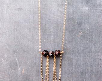 frills... gold garnet necklace / large garnet rondelle & 14k gold filled bib necklace / january birthstone