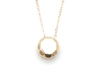 14k yellow gold faceted round pendant necklace