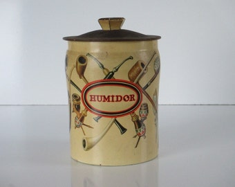 Horner Tobacco Tin ~ Vintage Can Humidor, Made in England, Vintage Pipes Cigarette Tobacco Canister with Lid