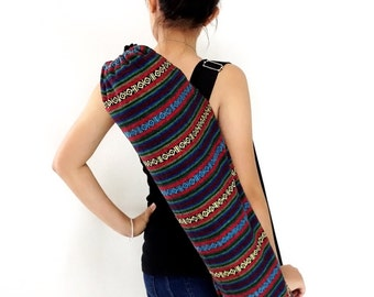 Handmade Yoga Mat Bag Yoga Bag Sports Bags Tote Yoga Sling bag Pilates Bag Pilates Mat Bag Woven Yoga Bag Women bag Woven Cotton bag (WF7)