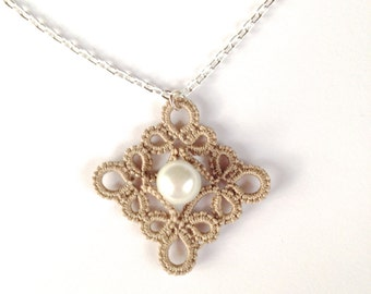 Beige tatted pendant necklace - lace pendant - square