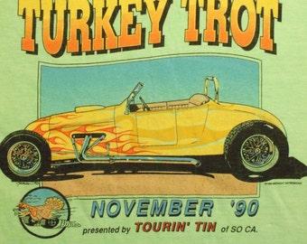 VINTAGE Turkey Trot So Cal November Tourin' Tin Neon Lime Green XL T Shirt 1990