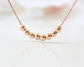 Rose Gold Necklace   Simple rose gold beaded necklace