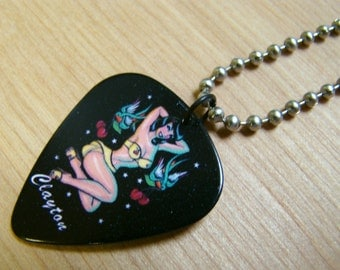 Pin Up Girl Guitar Pick Necklace with Stainless Steel Ball Chain