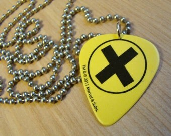 X Men Guitar Pick Necklace with Stainless Steel Ball Chain