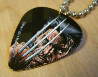 Wolverine Guitar Pick Necklace with Stainless Steel Ball Chain