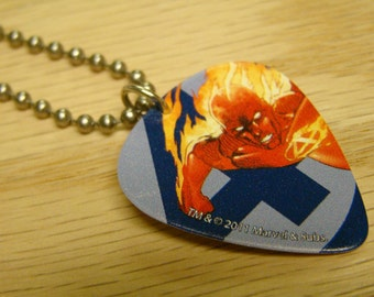 Human Torch of the Fantastic Four Guitar Pick Necklace with Stainless Steel Ball Chain - Marvel Comics