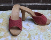 "Dead Stock New Leather Cut Out Berry Plastic 4"" Heel Sz 5 Summer Sandals"