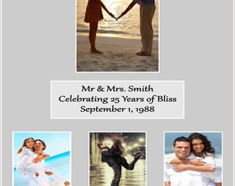 16x20 Multiple Openings Custom Photo Mat Unique Wedding Anniversary Gift Parents Picture Photo Display: Date Name Personalized More sizes