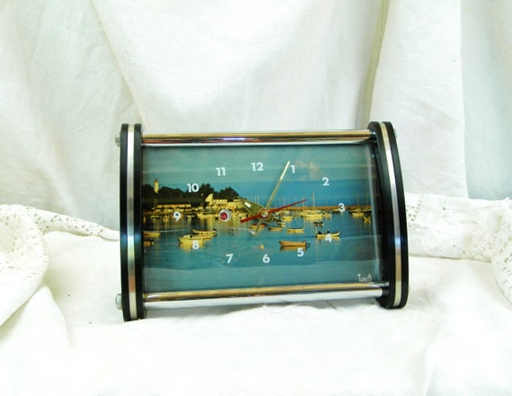 Working Vintage Mid Century French Postcard Mechanical Alarm Clock, 1960s Wind Up Clock with Coastal Scene from France, Brittany Picture