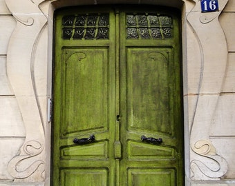 Green Door in Paris, France - Art Photography Print, Chartreuse, Retro, Door Art, Architecture Photography, French, Paris, France