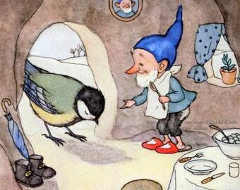 Gnome Fabric Block - Elf Feeds Bird Blue Tit - Ida Bohatta Morpurgo