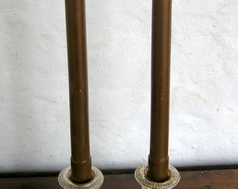 Pair Beeswax Colonial Brown Taper Candles Hand Crafted By The Beekeeper