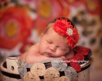 Baby Headband, baby bow, Shabby Chic headband,  newborn headband, flower headband,  baby girl headband