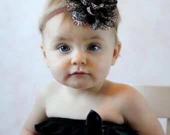 Leopard print Baby Headband, black brown Lace Headband, girl Headband, newborn headband, vintage headband toddler fabric headband