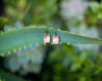 Minimal Jewelry, Recycled copper Arrow earrings with strip pattern