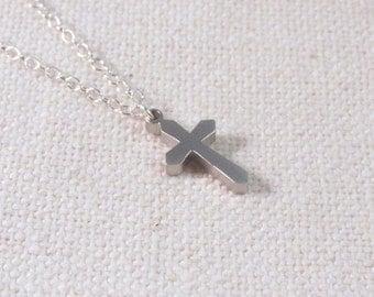Dainty Cross Necklace, Sterling Silver Modern Everyday Jewelry