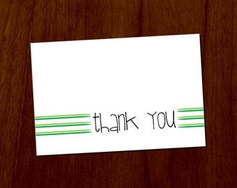 Green Lines 4x6 Printable Thank You Card