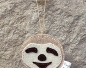 Sloth Felt Holiday Ornament, Sloth Gift Tag