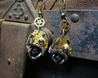 Steampunk Earrings - Watchful Rose