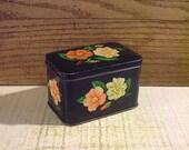 Small Floral Box, Vintage Tin Box, Black, Flowers Floral, Cottage Chic, Boho Décor, Mid Century Box, Tiny Storage, Vintage Vanity
