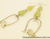 20075 / Bird dangle earrings / Jade silver earrings / Bird in cage jewelry / Dangle earrings / Love bird jewelry / Green silver