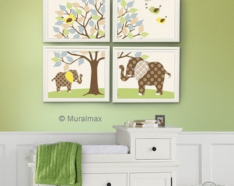 Baby boy room, Nursery print, Baby elephant, Green and Brown, 4 prints 8x10, Elephants Wall Art