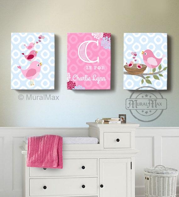girls wall art birdies canvas art baby nursery decor personalized canvas set