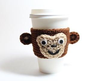 Monkey Coffee Cozy, Coffee Sleeve, Animal Can Holder, Crochet Drink Cup Holder, Java Jacket
