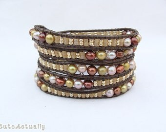 Gold brown peach freshwater pearl wrap bracelet with glass beads on brown polyester cord