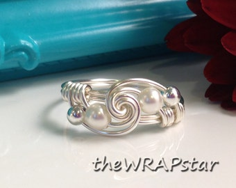 Wire Wrapped Jewelry Handmade White Pearl Ring Wire Ring Wire Wrap Ring ITEM0311