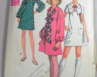 1960s Mod Mini dress Bishop sleeve sewing pattern Simplicity 8805 Size 10 Bust 32.5""