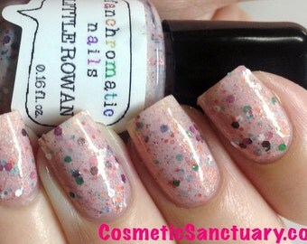 CLEARANCE Little Rowan Nail Polish - cherry blossom pink with multicolor glitter