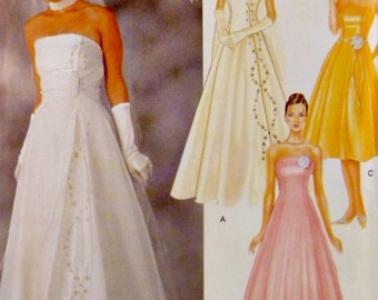 Strapless Wedding Dress Pattern Plus Sizes Included 14 16 18 20 Princess Seams Bridal Gown Bridesmaids Simplicity 7068 Sewing Pattern Uncut