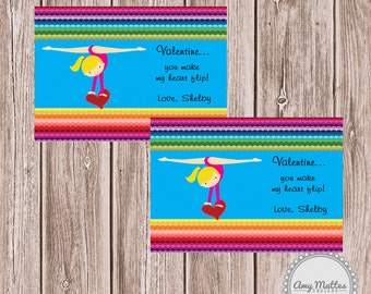 Valentine DIY Printable Fresh & Fun Personalized Gymnastics Chevron Card