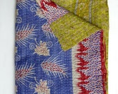 Pastel Blue Kantha Quilt // Powder Blue Throw // Blue Throw Blanket