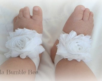 White Shabby Chiffon Baby Barefoot Sandals for Infant, Newborn and Toddler, Photo Prop, Bottomless Sandles, Christening Baptism