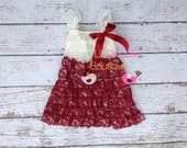 Burgundy and Ivory dress, newborn dress, Lace dress, baby girl outfit, infant outfit, special occasion dress, toddler dress, girls dress,