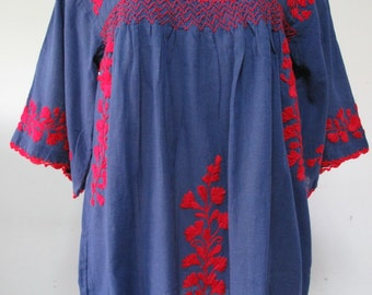 Mexican Embroidered Blouse Cotton Top In Blue Bohemian Style, Hippie Top, Boho Blouse