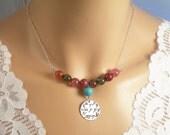 Happy Happy Happy Camo Necklace, Sterling Silver, Dragon Vein Quartz, Turquoise Stone Cross