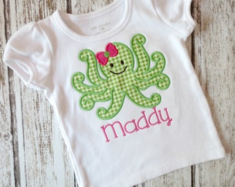 Girly Octopus Applique Shirt - Girls, Baby, Toddler, Embroidered Shirt, Octopus, Summer, Personalized Shirt