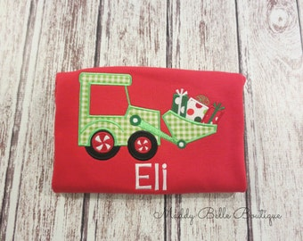 Boys Holiday Tractor with Presents Appliqued Shirt - Holiday, Christmas, Tractor, Presents, Boys, Monogram, Personalized Shirt, Toddler