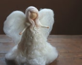 Needle Felted, Christmas, Tree Top, Angel, Heirloom, Tree topper, Waldorf,White, Xmas,Nativity,Guardian Angel,White,Silver sparkle,Silk,Wool
