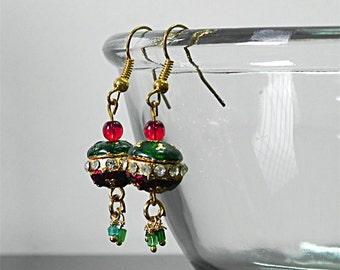 SALE Beadwork Earrings Green Earrings Red Earrings Dangle Earrings Multicolor Earrings Cute Delicate Earrings - Gift for her Fashion Jewelry